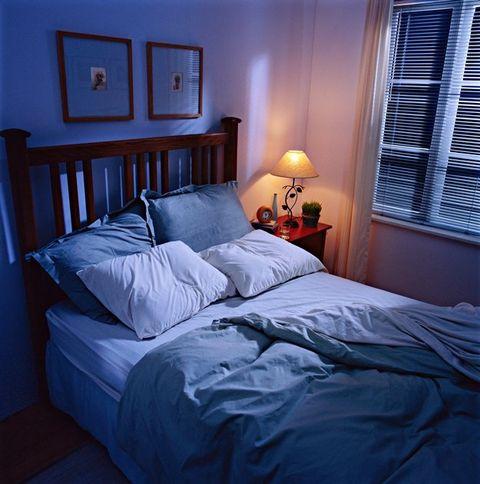 Bedroom, Bed, Bed sheet, Blue, Furniture, Room, Bedding, Bed frame, Property, Mattress,