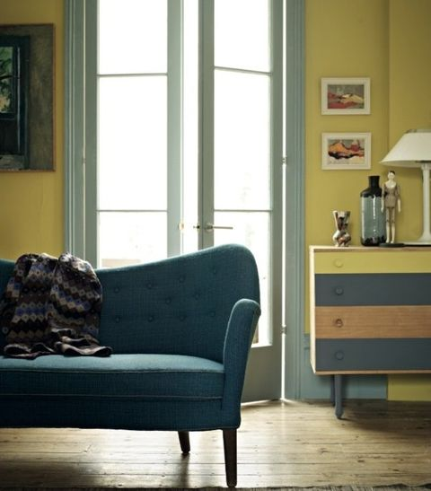 Furniture, Room, Blue, Couch, Living room, Yellow, Interior design, Floor, Home, Chair,
