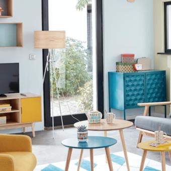 Living room, Furniture, Room, Interior design, Property, Turquoise, Home, Table, Building, Shelf,