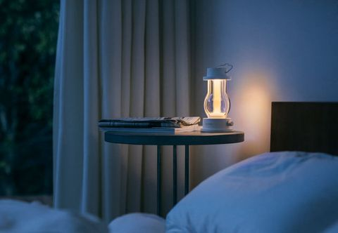 Blue, Room, Light, Furniture, Curtain, Interior design, Lampshade, Lighting, Lighting accessory, Bed,