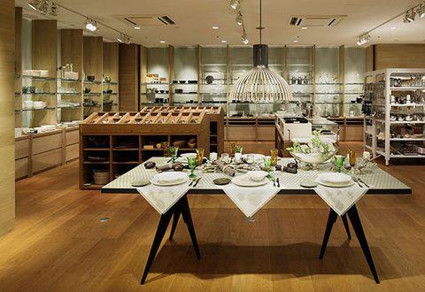 Interior design, Building, Room, Table, Dining room, Furniture, Floor, Flooring, Architecture, Restaurant,