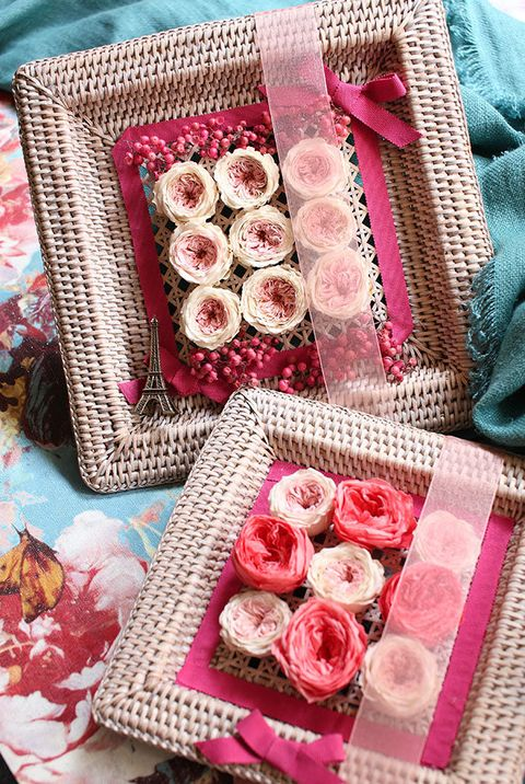 Textile, Pink, Magenta, Pattern, Petal, Home accessories, Linens, Peach, Finger food, Craft,