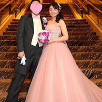 Gown, Bride, Wedding dress, Dress, Photograph, Bridal clothing, Formal wear, Clothing, Ceremony, Pink,