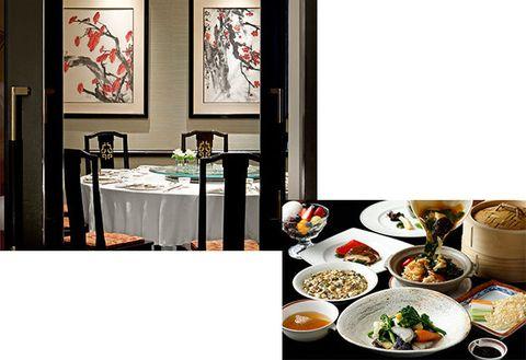 Meal, Room, Table, Porcelain, Dish, Food, Cuisine, Furniture, Dining room, Interior design,