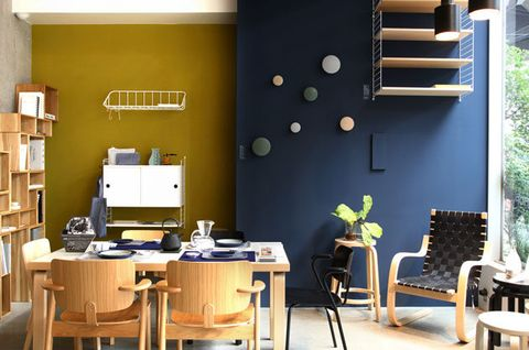 Room, Furniture, Interior design, Property, Yellow, Dining room, Building, Wall, Table, Home,