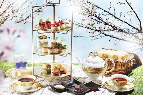 Spring, Branch, Food, Flower, Plant, Picnic, Tea set, Tableware, Blossom,