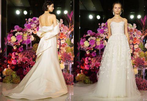 Gown, Dress, Wedding dress, Clothing, Fashion model, Bride, Haute couture, Bridal clothing, Fashion, Shoulder,