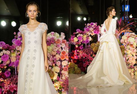 Gown, Dress, Wedding dress, Clothing, Bridal clothing, Shoulder, Pink, Fashion, Haute couture, Formal wear,
