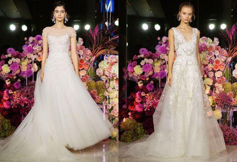 Gown, Wedding dress, Dress, Clothing, Bride, Bridal clothing, Fashion model, Haute couture, Fashion, Formal wear,