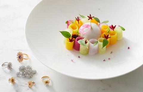 Food, Dish, Pink, Cuisine, Plate, Petal, Garnish, Dessert, Plant, Dishware,