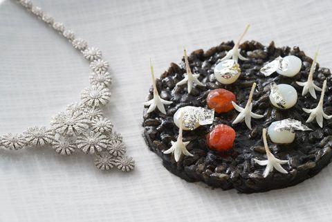 Fashion accessory, Food, Jewellery, Necklace, Dessert, Cuisine, Dish, Cake, Pendant, Baked goods,
