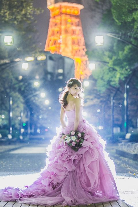 Photograph, Dress, Pink, Purple, Gown, Yellow, Beauty, Wedding dress, Fashion, Formal wear,