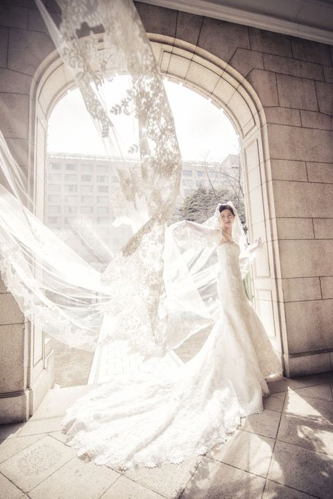 Photograph, Wedding dress, Bride, White, Gown, Dress, Veil, Bridal clothing, Bridal veil, Bridal accessory,