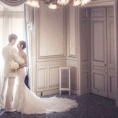 Wedding dress, Photograph, Bridal clothing, Dress, Bride, Gown, Room, Photography, Ceremony, Wedding,