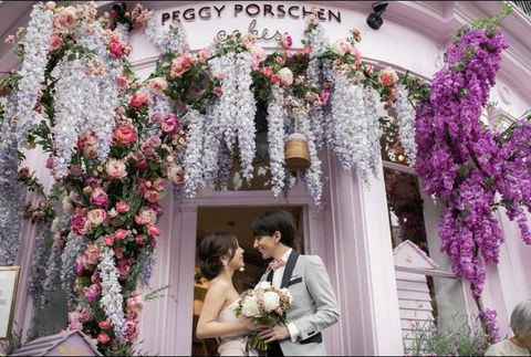 Photograph, Flower Arranging, Arch, Floral design, Floristry, Flower, Architecture, Pink, Ceremony, Plant,