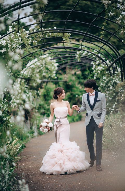 Bride, Photograph, Wedding dress, Dress, Bridal clothing, Gown, Wedding, Ceremony, Marriage, Pink,