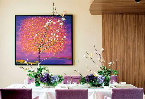 Interior design, Purple, Wall, Room, Interior design, Ceiling, Lavender, Twig, Violet, Tablecloth,