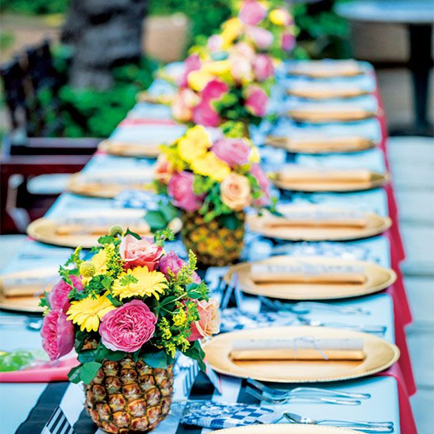 Yellow, Food, Table, Brunch, Flower, Cuisine, Event, Textile, Dish, Meal,