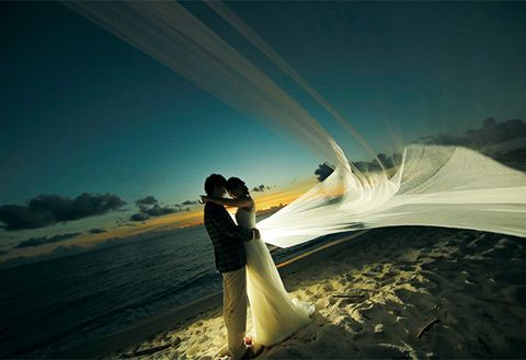People in nature, Photograph, Sky, Water, Bride, Dress, Romance, Wave, Happy, Cloud,