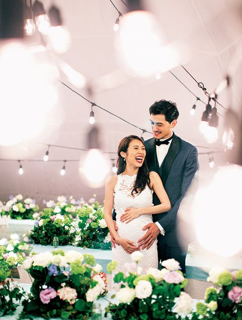 Photograph, Wedding dress, Bride, Ceremony, Dress, Wedding, Bridal clothing, Event, Yellow, Pink,