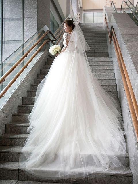Gown, Wedding dress, Dress, Bride, Clothing, Bridal clothing, Bridal accessory, Bridal party dress, Photograph, Shoulder,