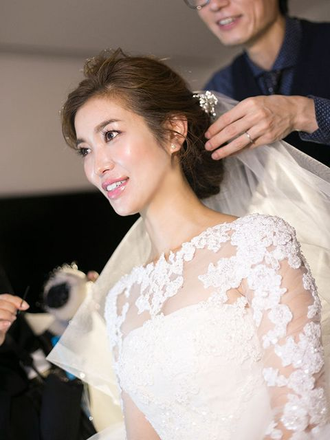 Hair, Photograph, Bride, Wedding dress, Facial expression, Dress, Hairstyle, Bridal clothing, Gown, Shoulder,