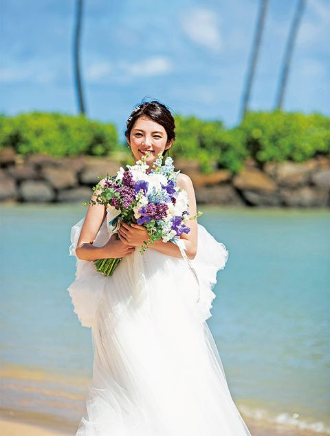 Clothing, Blue, Hairstyle, Sleeve, Skin, Shoulder, Bridal clothing, Dress, Textile, Photograph,