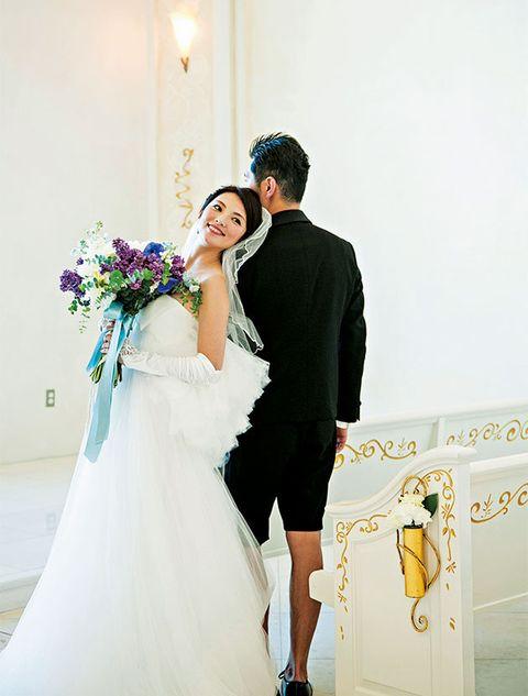 Bride, Photograph, White, Wedding dress, Dress, Gown, Wedding, Ceremony, Bridal clothing, Yellow,