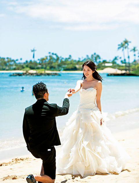 Photograph, Wedding dress, Bride, Bridal clothing, Wedding, Dress, Honeymoon, Gown, Ceremony, Romance,