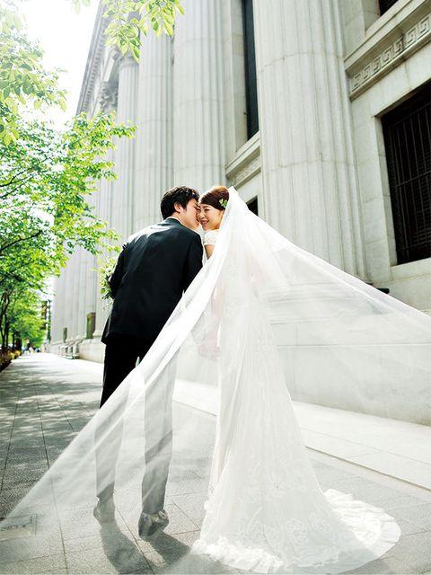 Bride, Wedding dress, Gown, Photograph, Dress, Veil, White, Bridal clothing, Bridal accessory, Clothing,