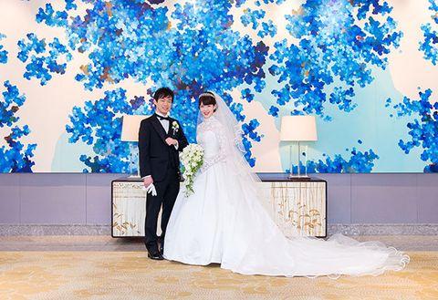 Bride, Photograph, Blue, Wedding dress, Gown, Ceremony, Wedding, Dress, Bridal clothing, Event,