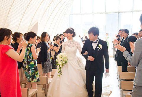 Photograph, Ceremony, Facial expression, Event, Wedding, Wedding dress, Bride, Bridal clothing, Dress, Yellow,