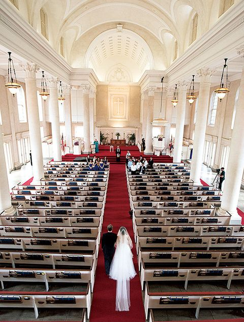 Aisle, Chapel, Red, Building, Ceremony, Place of worship, Event, Church, Ceiling, Interior design,