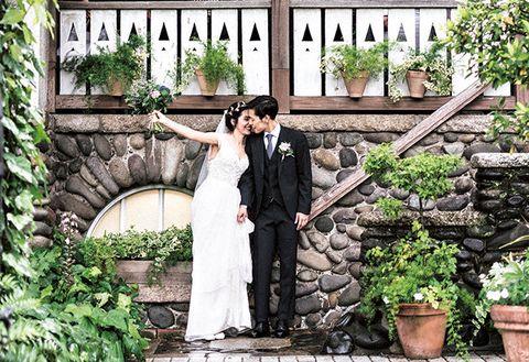 Photograph, Bride, Wedding, Ceremony, Dress, Backyard, Wedding dress, Garden, Bridal clothing, Botany,