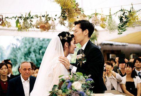 Photograph, Ceremony, Facial expression, Wedding dress, Bride, Wedding, Marriage, Veil, Event, Flower Arranging,