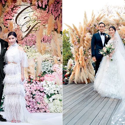 Bride, Wedding dress, Gown, Photograph, Dress, Bridal clothing, Clothing, Pink, Wedding, Ceremony,