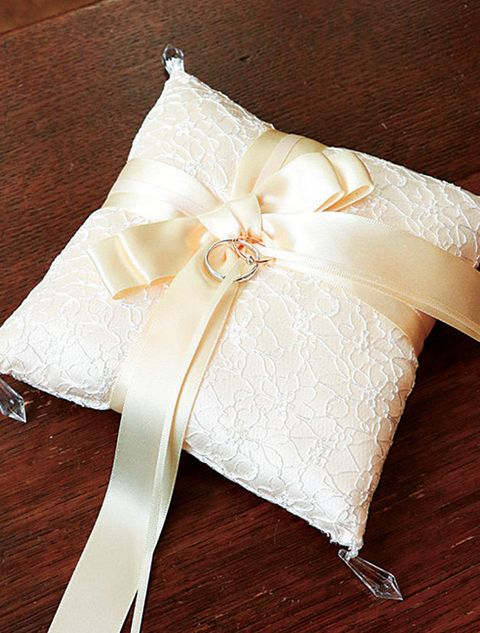 Wedding ring cushion, Wedding ceremony supply, Pillow, Ribbon, Textile, Linens, Lace, Fashion accessory, Embellishment,