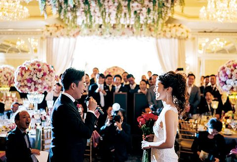 Photograph, Event, Ceremony, Yellow, Wedding banquet, Wedding, Wedding dress, Marriage, Wedding reception, Bridal clothing,
