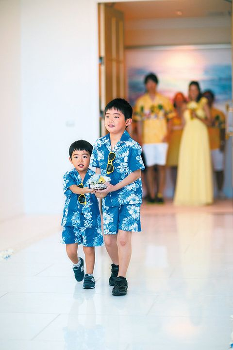 Blue, Yellow, Trousers, Dress, Standing, Happy, Flooring, One-piece garment, Fashion, Baby & toddler clothing,