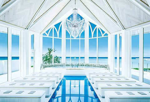 Blue, Building, Architecture, Chapel, Ceiling, Room, Interior design, Window, Daylighting, House,