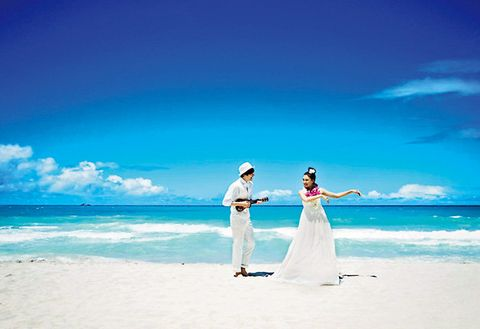 Photograph, Sky, Blue, Vacation, Honeymoon, Ceremony, Beach, Wedding, Ocean, Summer,