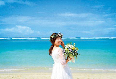 Photograph, Blue, Sky, Bride, Dress, Ceremony, Wedding, Wedding dress, Summer, Aqua,
