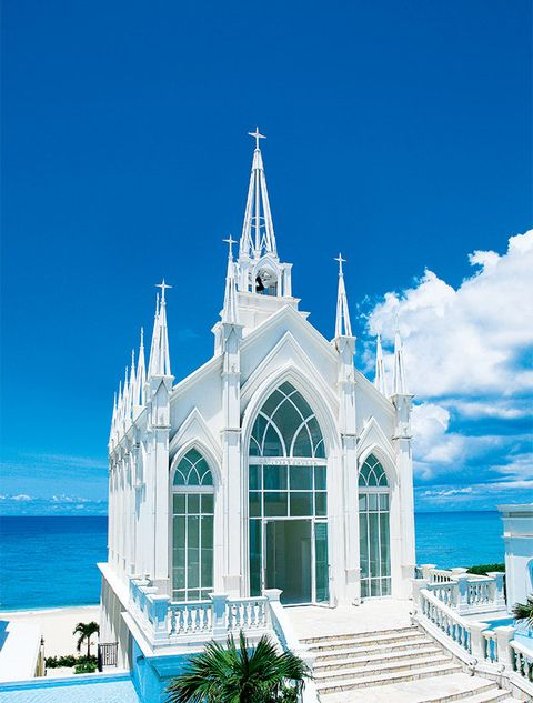 Blue, Sky, Landmark, Architecture, Place of worship, Church, Building, Chapel, Turquoise, Steeple,