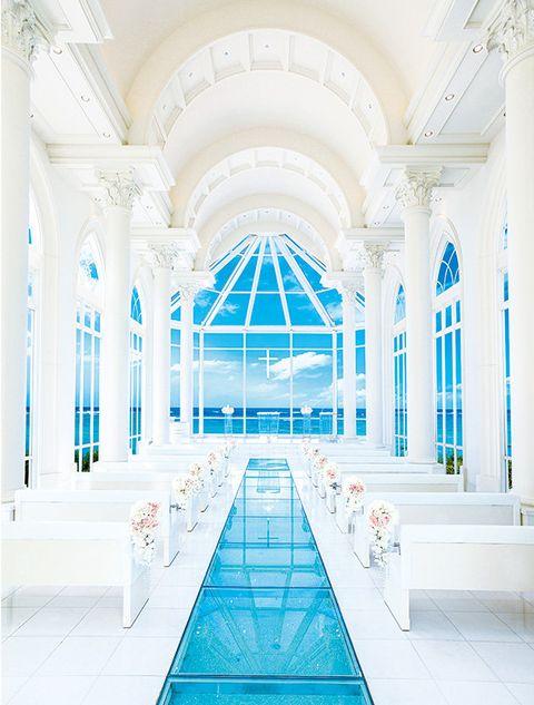 White, Building, Blue, Ceiling, Architecture, Chapel, Interior design, Symmetry, Aisle, Arch,