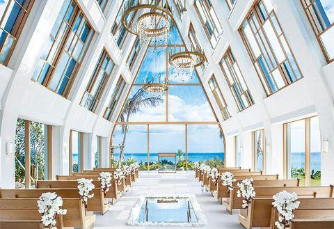 Photograph, Blue, Ceiling, Building, Chapel, Yellow, Room, Interior design, Architecture, Aisle,