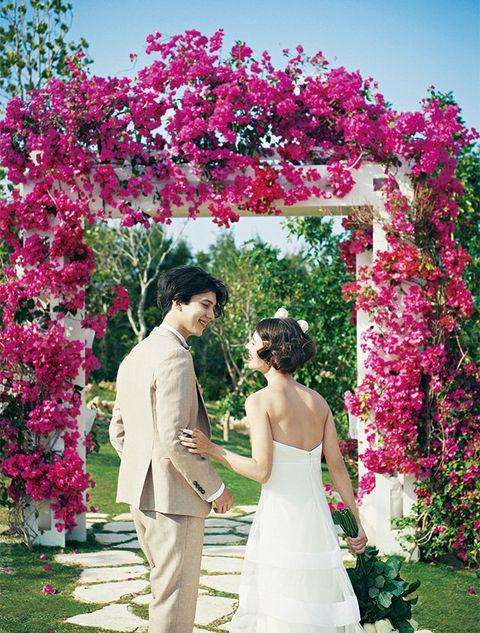 Photograph, Pink, Ceremony, Dress, Wedding dress, Arch, Architecture, Flower, Flower Arranging, Marriage,