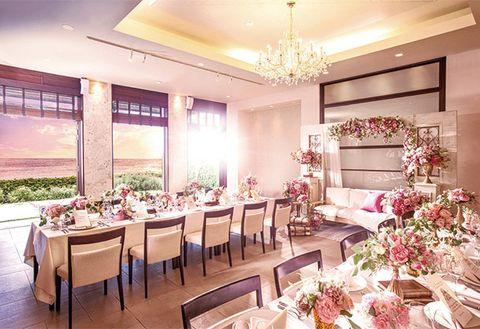 Room, Interior design, Pink, Property, Dining room, Restaurant, Building, Function hall, Ceiling, Furniture,