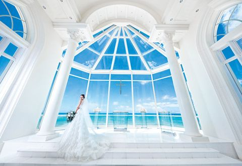 Photograph, Blue, White, Architecture, Aqua, Dress, Building, Daylighting, Chapel, Room,