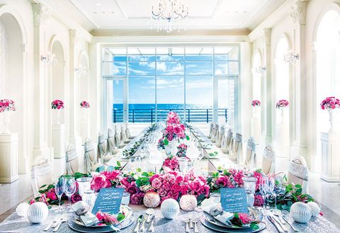 White, Decoration, Pink, Room, Interior design, Floral design, Building, Flower, Ceremony, Wedding reception,