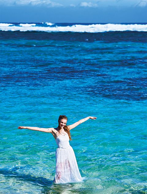 Blue, Sky, Sea, Ocean, Beauty, Dress, Happy, Water, Wave, Vacation,